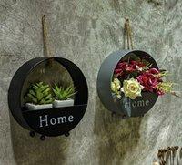 ingrosso cesti di fiori appesi-Creativo retrò in ferro battuto a parete circolare Cesto di fiori verde pianta appesa cesto decorazione della parete fiore appeso cesto