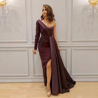bir omuz el yapımı elbise toptan satış-Moda Bir Omuz Kılıf Abiye Saten Son Tasarım 2019 Örgün Önlük Yan Yarık El Yapımı Aplikler Custom Made