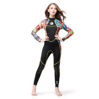 yüzme neopren kıyafeti toptan satış-Hisea 3 MM Neopren kadın Dalış Takım Elbise Tek Parça Wetsuit Tam Vücut Avcılık Sörf Yüzme Lady için Suits