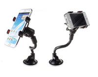 iphone için emiş aparatı toptan satış-Araç Montaj Uzun Kol Evrensel Cam Dashboard Telefon Araç Tutucu 360 Derece Rotasyon Güçlü Vantuz X Kelepçe ile Araba Tutucu 2018