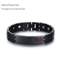 joyería de titanio germanio al por mayor-Black Titanium Steel Medical Alert ID Magnet Germanium Pulseras de Salud Nombre personalizado Logo Pulsera para Hombres Joyería de Moda Casual