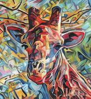 ingrosso giraffa a olio di tela di canapa-Artwork-dreamcoat-giraffe-Unframed Modern Canvas Wall Art per la decorazione di casa e ufficio, pittura a olio, pitture animali, cornice.