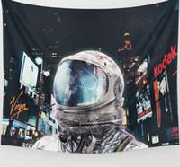 ingrosso tela di arazzo-Space Astronaut Tapestry Wall Hanging Art Banners Bandiere Camera da letto Dorm Sofa Background Decoration Retro Spaceman Printed Canvas Coperta da spiaggia