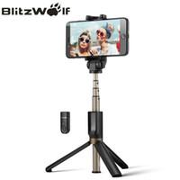 Wholesale plus equipment - BlitzWolf 3 in 1 Wireless Bluetooth Selfie Stick Mini Tripod Extendable Monopod Universal For iPhone 8 X 7 6s Plus For Samsung