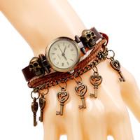 vintage armbanduhr leder mädchen großhandel-CHAOMO Leder Vintage römische Digital Uhr Mädchen Geschenk Handmade Totenkopf Armband Legierung Schmuck