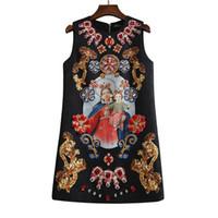 xl klas elbiseler toptan satış-Vintage 2018 marka kadın tek parça elbise marka tasarımcı elbise klas pist elbiseler Nakış boncuk lüks tankı elbise siyah XL 84752