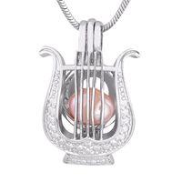 harfenanhänger großhandel-Mode-Form-Silber überzogene Perlenharfe Käfig-Anhänger-Art und Weise Medaillon DIY Perlenmädchen, das Geschenk P155 bezaubert