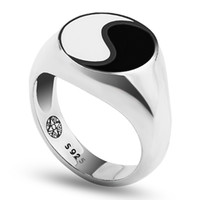 Wholesale yin yang jewelry for men for sale - Group buy Tai chi Yin Yang Gossip Ring Epoxy Rings Men Antique Sterling Silver Finger Ring Jewelry For Men and Women