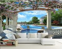 обои для гостиничных номеров оптовых-Европейское пространство для расширения 3D стерео фрески ТВ фон обои гостиная диван фильм и телевидение отель обои вид на море
