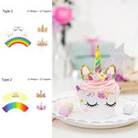 Wholesale baby cupcake wrappers - 24pcs Rainbow Unicorn Cupcake Cake Wrappers Toppers Baby Shower Kids Birthday Cupcake Wrappers Unicorn Rainbow Cake Toppers BBA257 50PCS