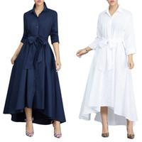 sonbahar kış maxi elbiseleri toptan satış-Yeni Kadın Giyim Moda Vintage Kadınlar Elbise Kadınlar Nedensel Maxi Elbise artı Boyutu Kadın Sonbahar Kış Uzun Kollu Gevşek Düğme Elbise Vestido
