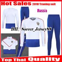 Wholesale russian suit - 2018 2019 World cup Russia Soccer Jersey Russian Training suit tracksuit DZAGOEV KOKORIN GLUSHAKOV KUZIAEV kits long sleeve Football jacket