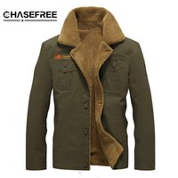 Wholesale mens pilot jacket fur - Winter Bomber Jacket Men Air Force Pilot Ma1 Jacket Outerwear Cotton Thick Fur Collar Warm Military Tactical Mens Jacket Coat