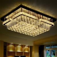 moderna luz retangular pingente venda por atacado-Moderno LED Rectangular K9 Crystal Chandelier Teto Luz Flush mount LED Luminária de teto Pendant Lamp for Living Room Hotel Hall
