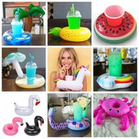 Wholesale Inflatable Beach - Animals Inflatable Cup Holder Drink Floating Party Beverage Boats Pool Beach Stand Inflatable Drink Holder Unicorn Flamingo AAA134