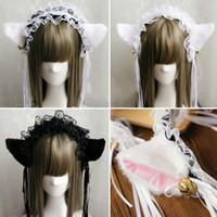Wholesale xmas ribbon wholesale - Party Fancy Dress Headband Fluffy Cat Fox Ears Lace Ribbon Tassels Bell Headband Anime Waitress Maid Devil COS Costume Xmas Props