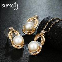 collar indio de la boda de la perla del oro al por mayor-OUMEILY Sistemas de la joyería de la perla / del cristal simulado India nupcial Dubai Color oro Juegos de la joyería de las mujeres collar de perlas de la boda de Nigeria