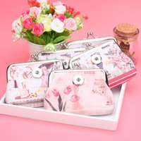 Wholesale Noosa Chunks Snaps Jewelry DIY Eiffel Tower mm Snap Button Coin Purse Vintage Owl Elephant PU Leather Bag Small Money Wallet