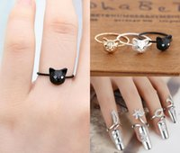 Wholesale ring finger nail designs - Exquisite Cute Retro Queen Dragonfly Design Rhinestone Plum Snake Gold Silver Ring Finger Nail Rings Bling Rhinestone Many Styles