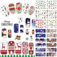 karikatür çivi çıkartmaları toptan satış-Toptan Satış - Toptan-48 Tasarımlar / Lot Noel Güzellik Nail Sticker Seti Karikatür Tam İpucu Çıkartmaları DIY Noel Dövmeler Nail Art Dekorasyon TRA1129-1176