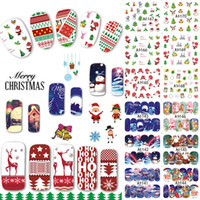 ingrosso unghie art disegni cartoni animati-Wholesale-48 Disegni / Lotto Natale Bellezza Nail Sticker Set Cartone animato punta piena Decalcomanie DIY Xmas Tatuaggi Nail Art Decoration TRA1129-1176