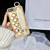 logo de marca movil al por mayor-Logo funda de cuero para iphone 8 Fashion chic Famosa marca para teléfono móvil