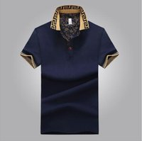 Wholesale mens plus size polo - Brand Designer -Mens Polo Shirt Brand Plus Size M-5XL Cotton Polo Shirt Men Slim Fit Brand Clothing Black Solid Polo Shirt