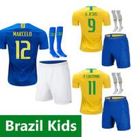 neymar jr brasil jersey al por mayor-brazil kids soccer jersey 2018 Brasil camiseta de fútbol para niños NEYMAR JR 18 19 brasil niño G JESUS P COUTINHO Camisa de futebol DANI ALVES MARCELO PAULINHO camiseta de fútbol