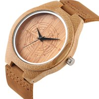 модные кожаные ремешки оптовых-Quartz Bamboo Watch Mens Watches Genuine Leather Watchbands Fashion Unique Wooden Watch for Mens reloj masculino Clock Gifts