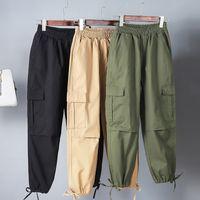 kargo pantolon kadın artı boyutu toptan satış-Artı Boyutu Kadınlar Egzersiz Pamuk Askeri Savaş Ordu Yeşil Kargo Pantolon Tulumları Bayanlar Düz Çok cep Pantolon
