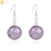Wholesale natural stone fashion jewellery resale online - CSJA Women Summer Fashion Collection Jewelry Round Gemstone Natural Healing Stone Danagle Earrings Real White Quartz Amethyst Jewellery E582