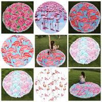 Wholesale Wholesale Cotton Tablecloth - Flamingo Round Beach Towel With Tassels 150*150cm Throw Picnic Blanket Beach Cover Up Boho Tablecloth OOA4375