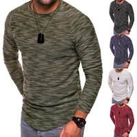 Wholesale gym fit t shirts resale online - Men Long Sleeve T Shirt Slim Fit Muscle O Neck Tee T shirt Casual Tops Blouse Gyms T Shirt Men Crossfit Tops Colors OOA4256