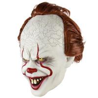 máscara de pennywise al por mayor-2018 Nuevo Mejor Stephen King's Máscara Pennywise Látex Halloween Máscara Cosplay Payaso Fiesta Prop Horror Payaso Mascarada Para Hombres Joker