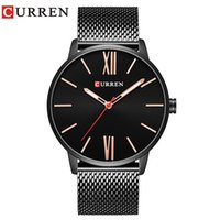 вахта стали curren оптовых-CURREN Brand 2017 tops Simple Minimalism  Quartz wrist Watches for men relogio masculino black / gold stainless steel 8238