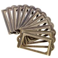 Wholesale antique brass drawer handles - 12Pcs set Antique Brass Metal Label Holders Pull Frame Handle Name Card Holder For Furniture Cabinet Drawer Box Case Bin E5M1