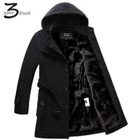 Wholesale Trench Coat Warm Liner - XMY3DWX weight 1.6kg-2.4kg men thickening high-grade warm single breasted trench coat Men inside Mao Dan long jacket black S-4XL