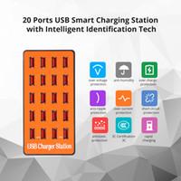 aile şarj cihazı toptan satış-100 W 20-Port USB Hub Duvar Şarj Adaptörü Akıllı Şarj İstasyonu Otomatik Tespit ile Teknoloji ve Aile Telefonu Tablet için Katlanabilir Fiş