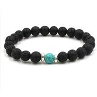 charme rock armbänder großhandel-10 Farben natürliche schwarze Lava Stein Perlen elastische Armband ätherisches Öl Diffusor Armband vulkanischen Rock Perlen Hand Saiten KKA1877