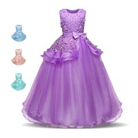 balo elbisesi kabarcık elbiseleri toptan satış-Yeni Kızlar Prenses Elbise Longuette Büyük Yay Aplike Kız Balo Dantel Kabarcık Etek Kolsuz Performans Elbise 5-16 T