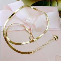 14k coreia de ouro venda por atacado-Coréia pura 14 k pele de cobra de ouro puro tridimensional amor pingente de cobra pulseira de osso tornozeleira