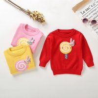 be12bb79d097b3 Cute Cartoon 18M-4T Toddler Infant Baby Girl Lollipop Coniglio Pullover  Maglione Felpa Top Giallo Rosa Rosso Drop Shipping