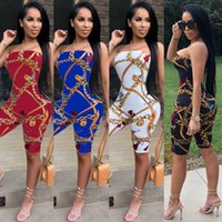0bfde7655e1 Wholesale sexy strapless bodysuit online - Print Women Strapless Jumpsuits  Summer Rompers Plus Size Women Clothes