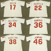 Wholesale robin baseball - Men Youth 1950 17 SCOTT ROLEN 34 ROY HALLADAY 36 ROBIN ROBERTS 38 CURT SCHILLING 46 FERGUSON JENKINS WILLIAMS baseball jersey