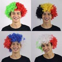 peruk direği toptan satış-Avrupa Kupası Dünya Kupası Bayrak Renk Peruk Fan Parti Malzemeleri Kafa Kapak Karnaval Festivali Sahne Patlamalar Başlık 5 5jh dd