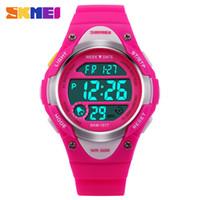 reloj de chicas a prueba de agua de alarma al por mayor-SKMEI Niños Deportes al aire libre Relojes Boy Alarm Reloj Digital Niños Cronómetro impermeable Niñas Relojes de Pulsera Reloj 1077