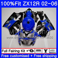 Wholesale zx12r blue online - Injection For KAWASAKI NINJA ZX1200 CC ZX12R HM ZX R R Blue black hot ZX R Fairing