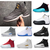 Wholesale Metal Buckled Sneakers - 2018 Hot New High Quality Original Men's Women's Basketball shoes 12s the Master Black leather stitching metal buckles Sneakers