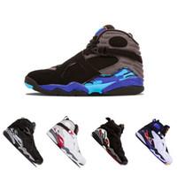 Wholesale aqua basketball - 2018 8 8s VIII men basketball shoes Aqua black purple Chrome Playoff red Three Peat 2013 RELEASE Athletic sports sneakers size 41-47