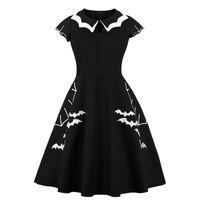 панк плюс размер одежды женщины оптовых-Black Dress Women Halloween Bat Embroidery Punk Party Dresses Gothic Dress Clothing Big Swing Vestidos 5XL 4XL Plus Size